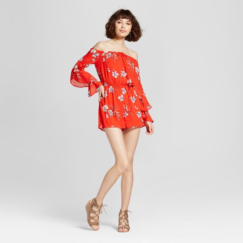 Womens Floral Statement Sleeve Romper - 3Hearts (Juniors) Orange XS, Off-White Orange