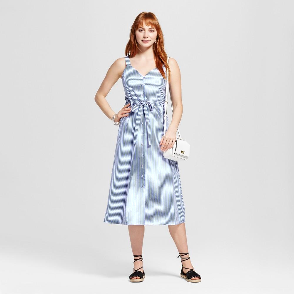 Womens Sleeveless Pinstripe Dress - J by J.O.A. Blue- J by J.O.A. White S, Multicolored