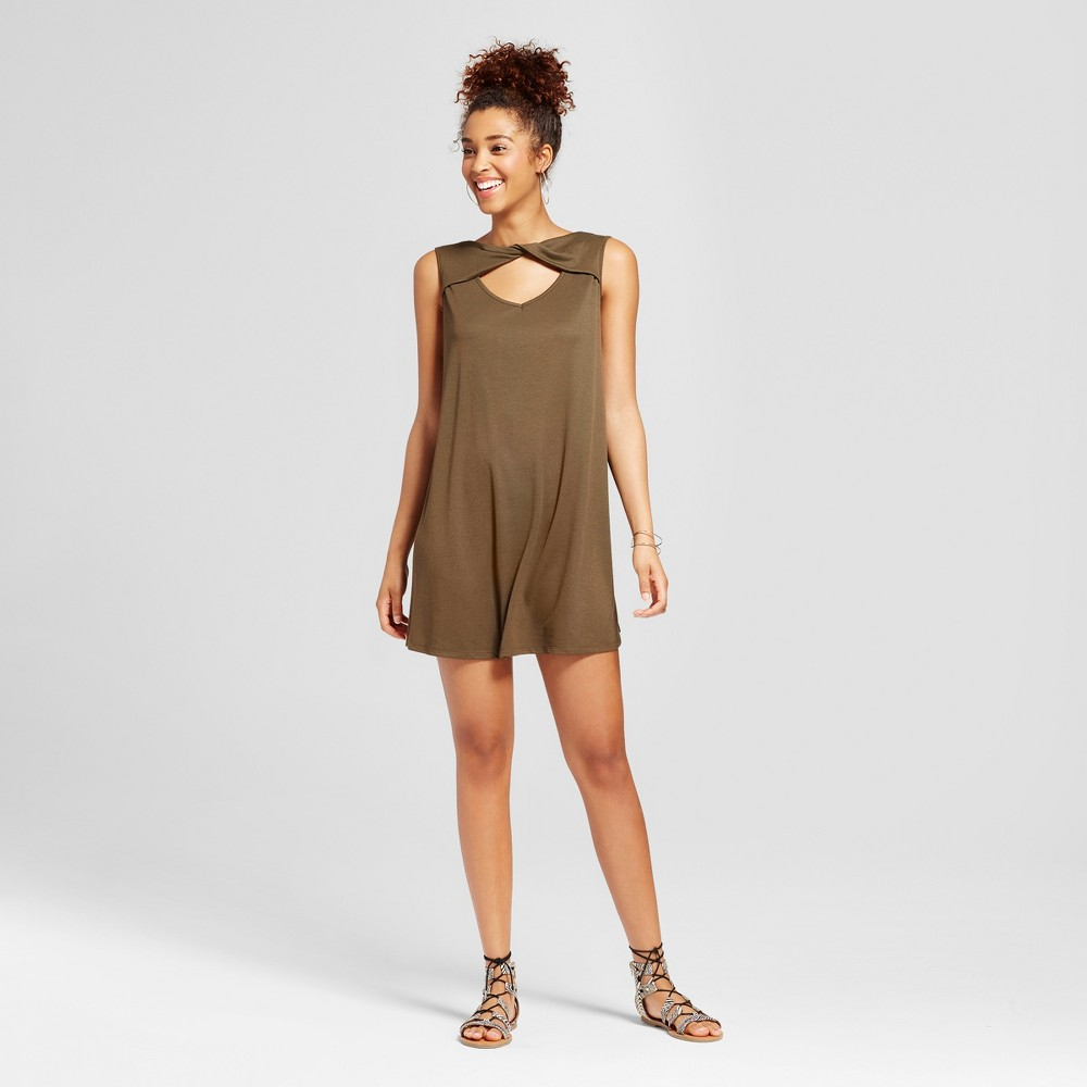 Womens Twisted Neck Cut Out Shift Dress - 3Hearts (Juniors) Green S