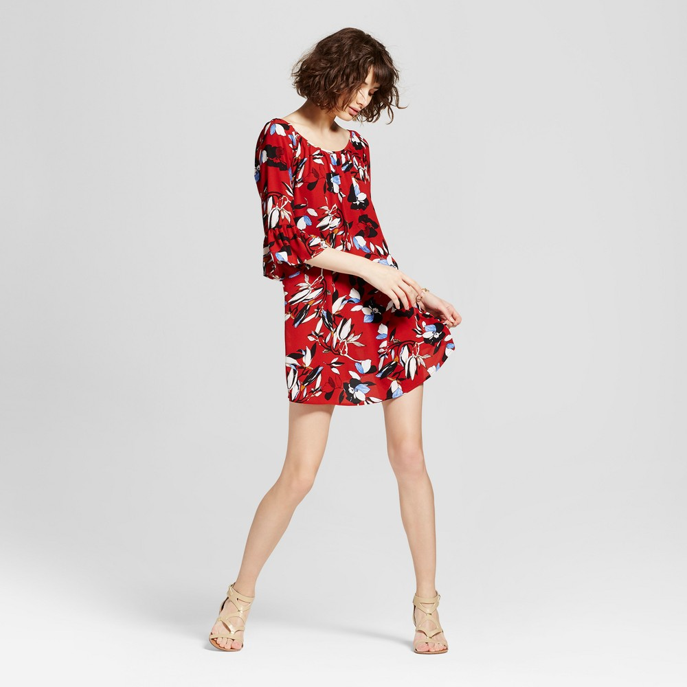 Womens Floral Off the Shoulder Peasant Bell Sleeve Dress - 3Hearts (Juniors) Red M, Brown Red Off-White