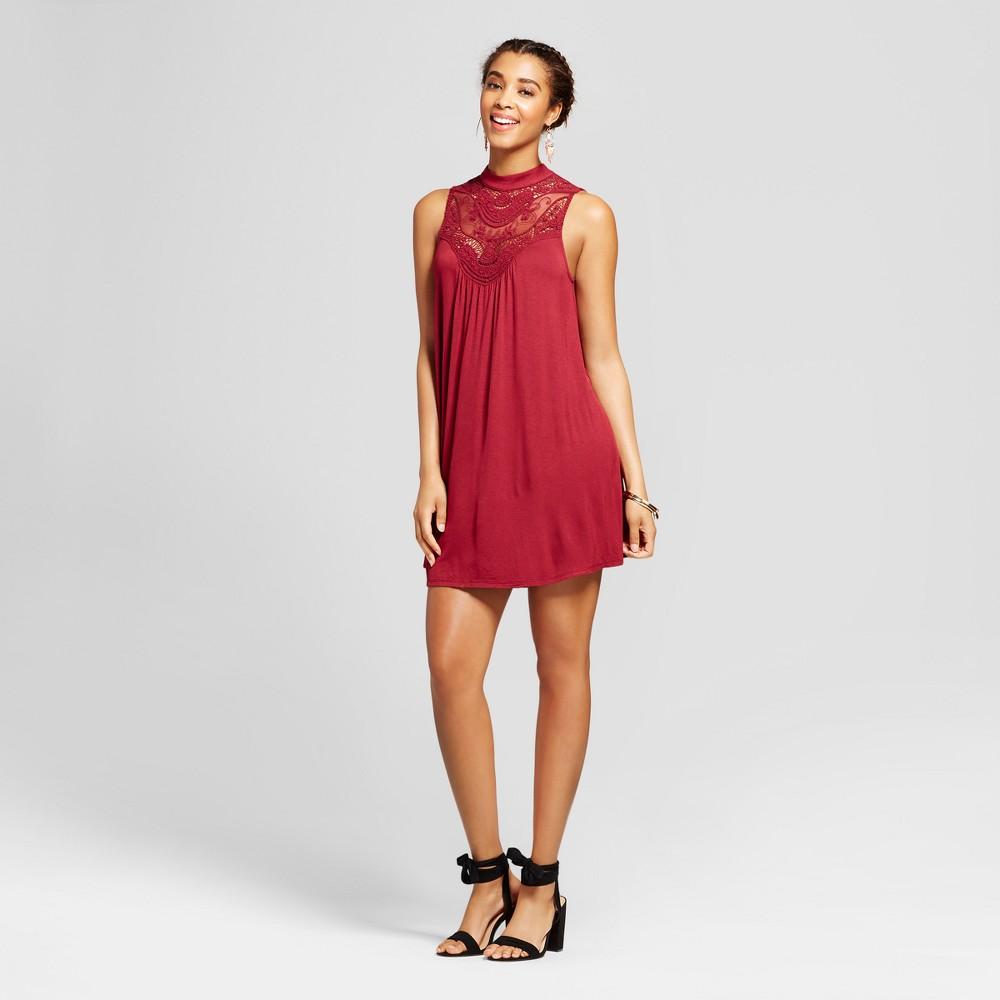 Womens Crochet Mock Neck Dress - 3Hearts (Juniors) Red M