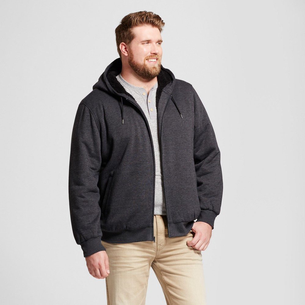 Mens Big & Tall Standard Fit Sherpa Hoodie - Goodfellow & Co Charcoal (Grey) Xlt