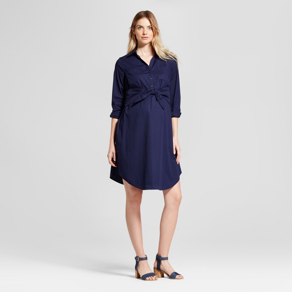 Maternity Tie Front Shirt Dress - Isabel Maternity by Ingrid & Isabel Navy L, Womens, Blue