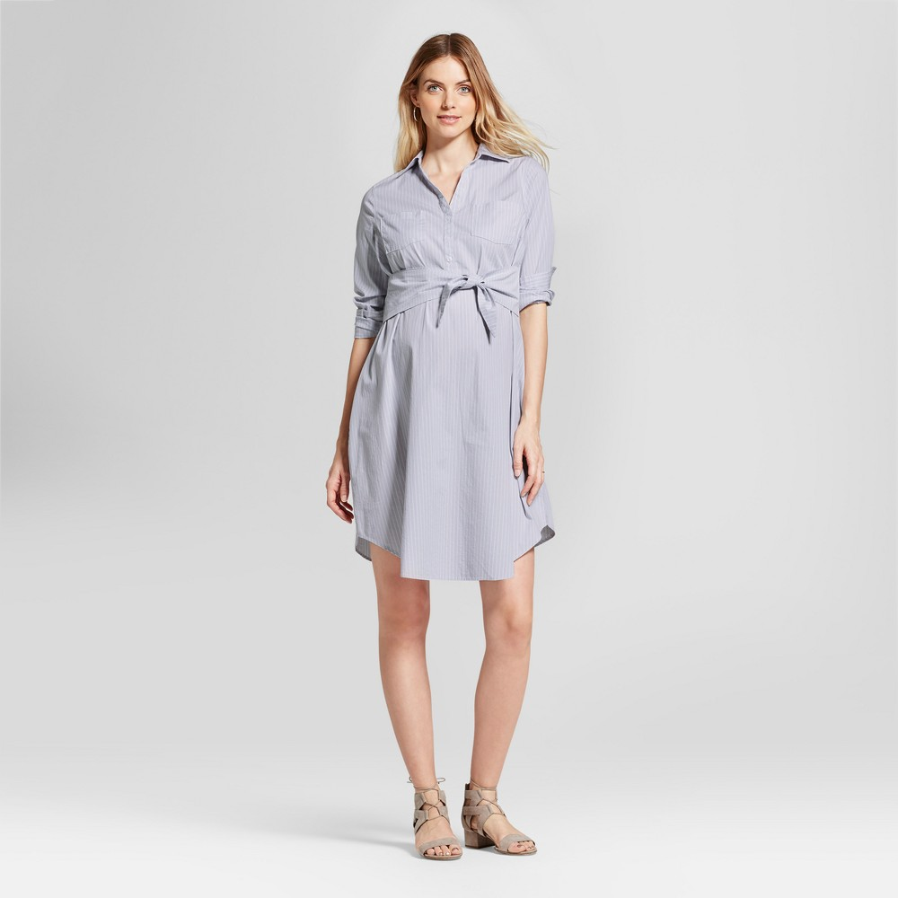 Maternity Striped Tie Front Shirt Dress - Isabel Maternity by Ingrid & Isabel Eggshell Blue M, Womens