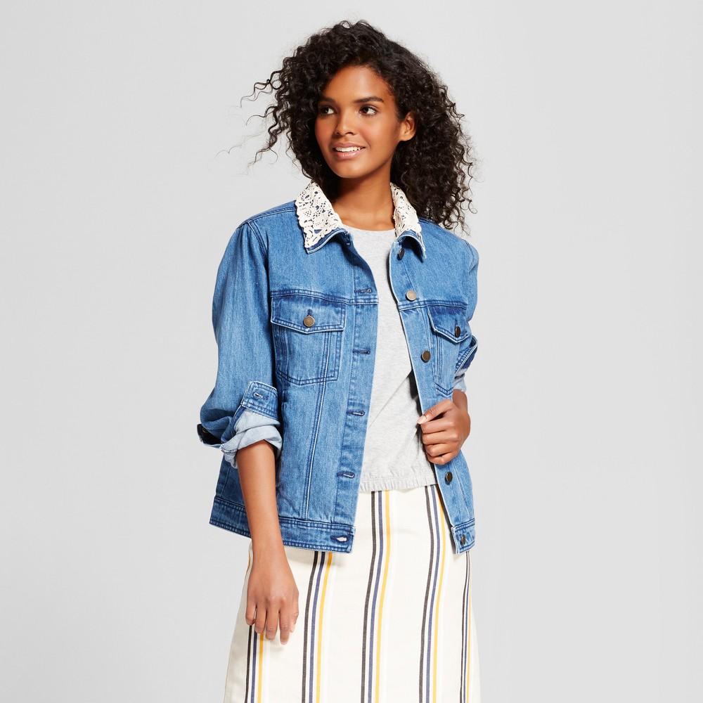 Womens Aviator Denim Jacket - Who What Wear Medium Wash L, Blue