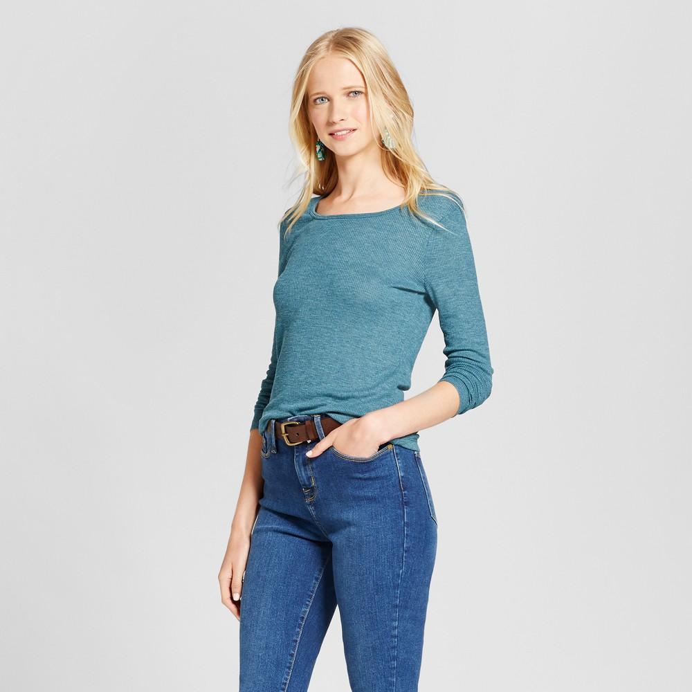 Womens Long Sleeve Rib T-Shirt - Mossimo Supply Co. Blue M