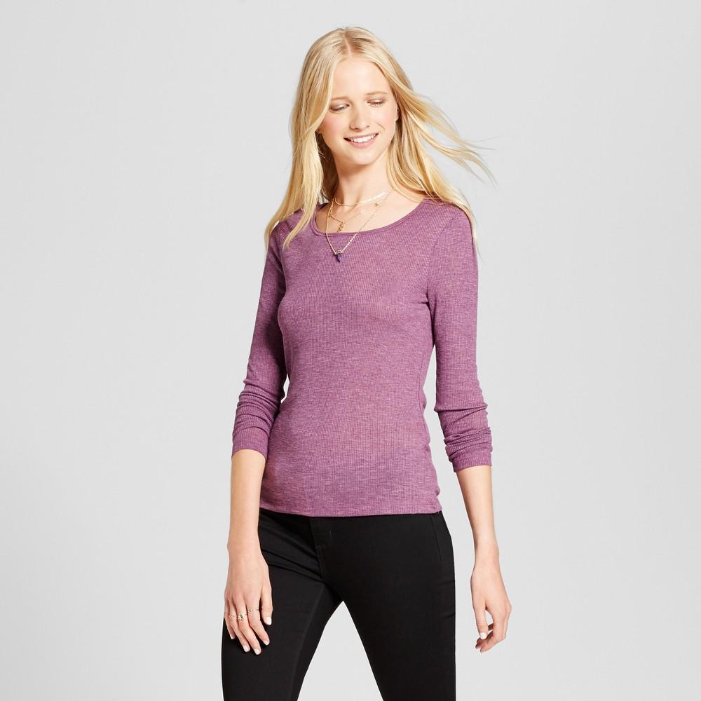 Womens Long Sleeve Rib T-Shirt - Mossimo Supply Co. Purple XS
