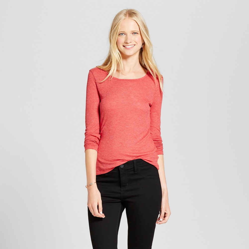 Women's Long Sleeve Rib T-Shirt - Mossimo Supply Co. Red XS
