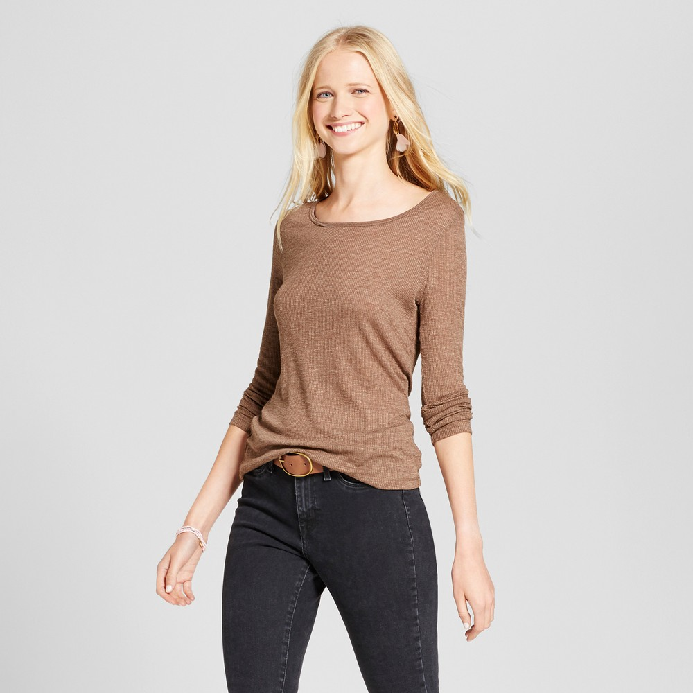 Womens Long Sleeve Rib T-Shirt - Mossimo Supply Co. Brown Xxl