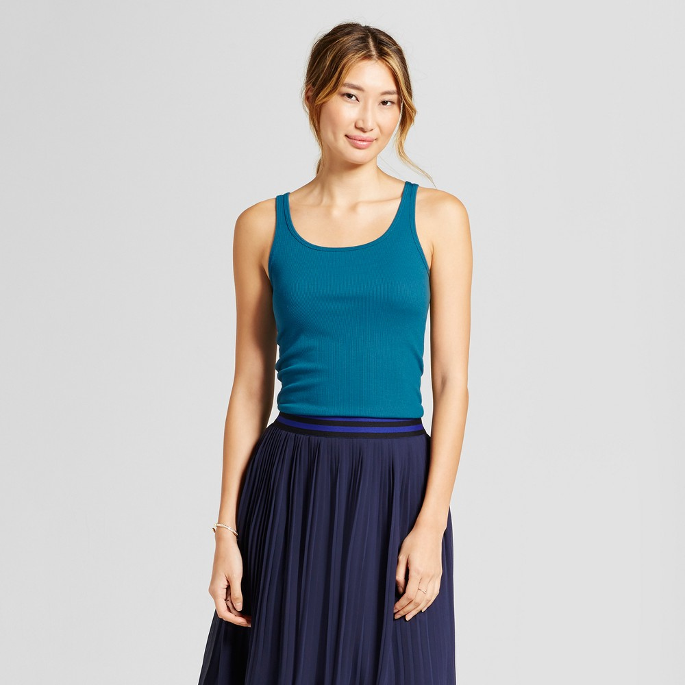 Womens Ribbed Any Day Tank - A New Day Teal (Blue) L