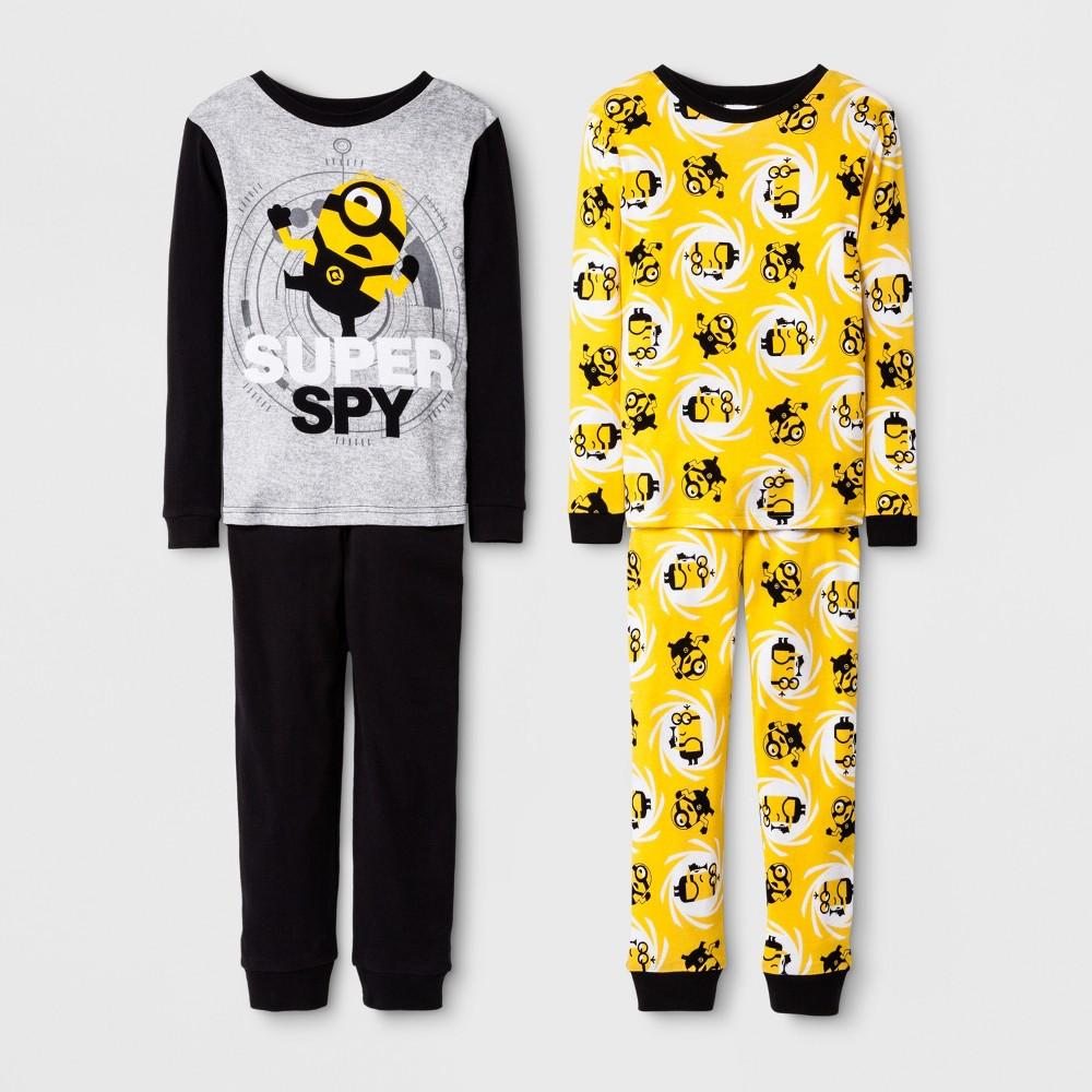 Boys Minions 4 Piece Cotton Pajama Set - Black 8