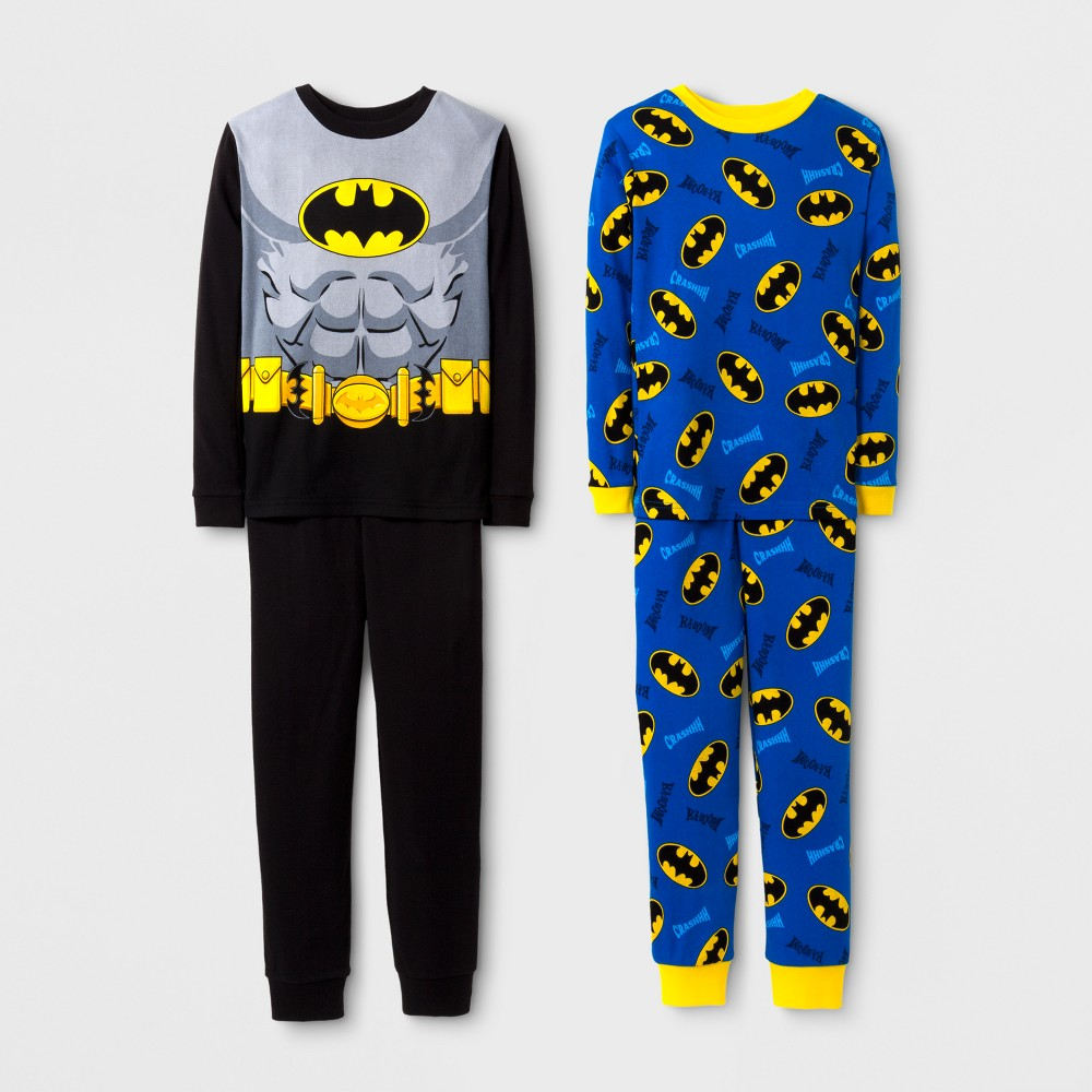 Boys DC Comics Batman 4 Piece Cotton Pajama Set - Black 10