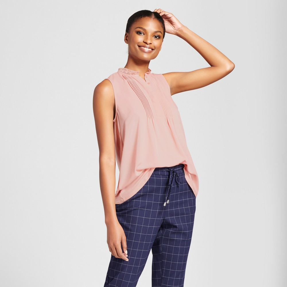 Womens Pleat Front Top - A New Day Blush XL