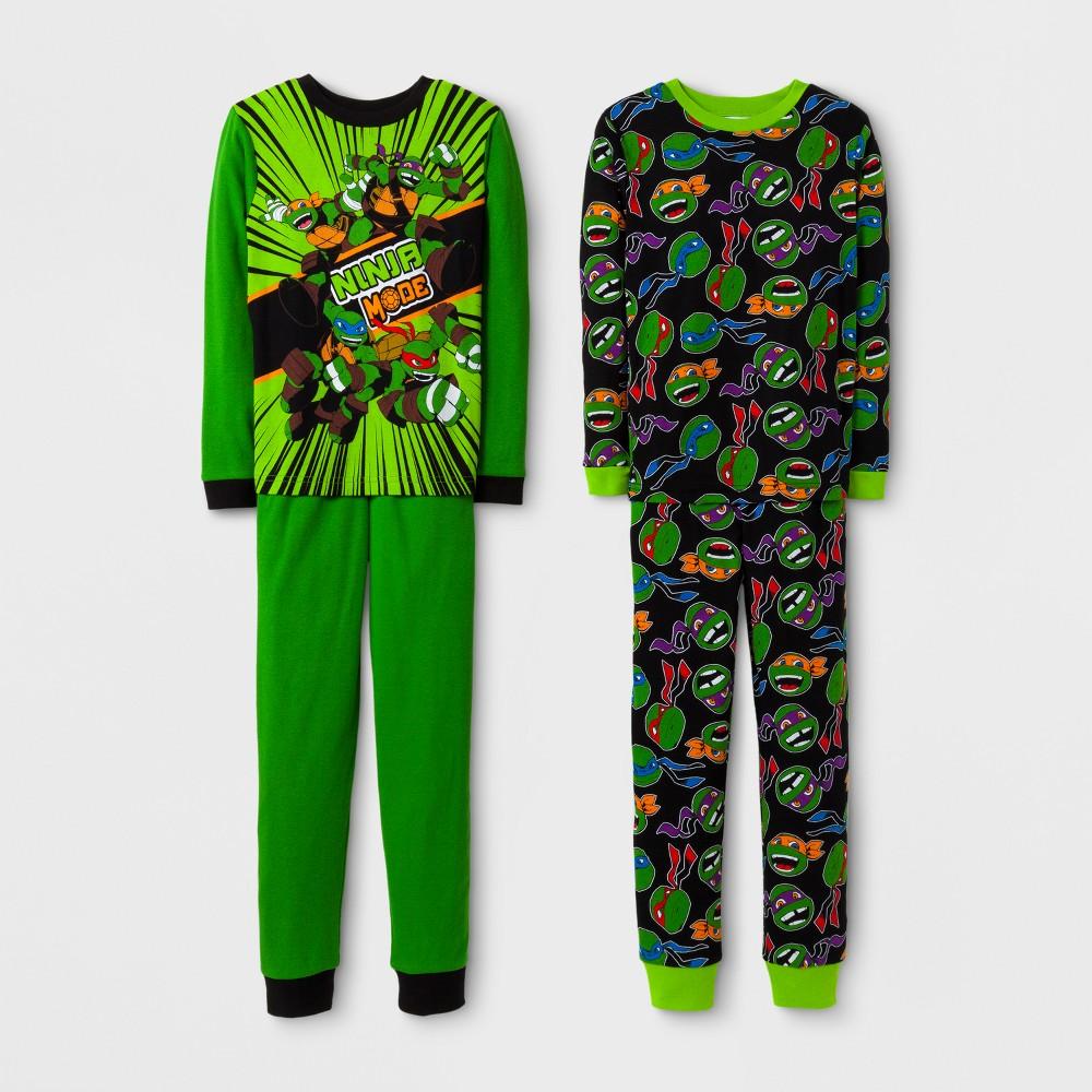 Boys Teenage Mutant Ninja Turtles 4 Piece Cotton Pajama Set - Green 6