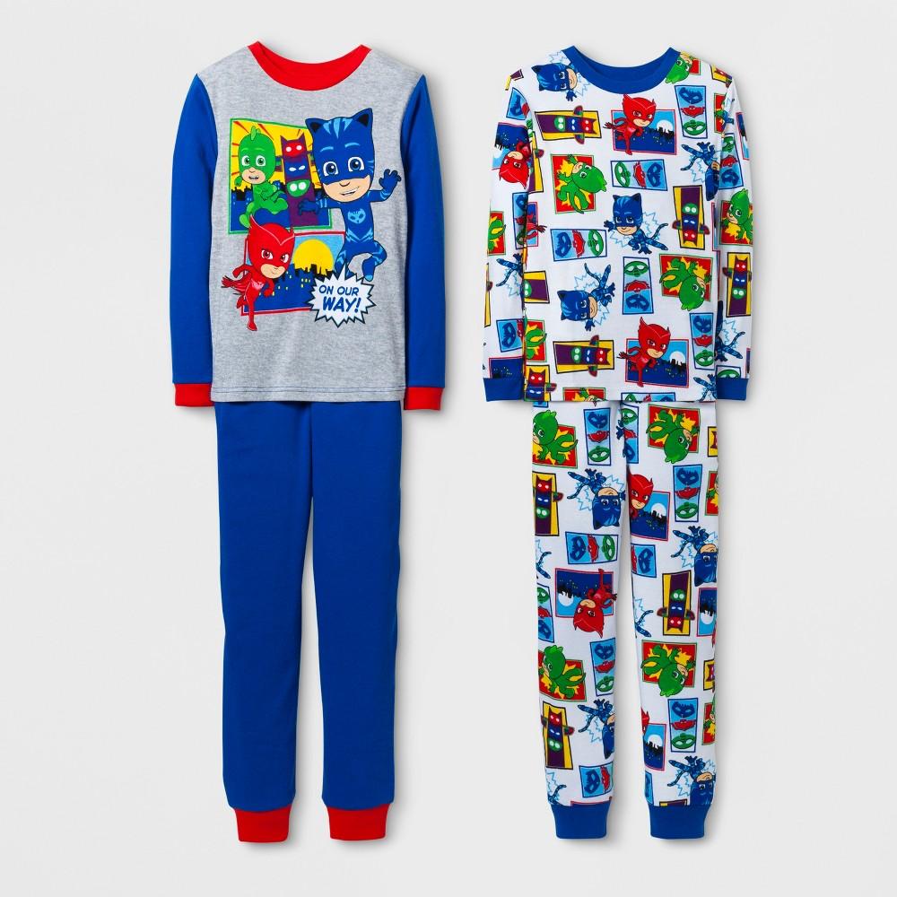 Boys PJ Masks 4 Piece Cotton Pajama Set - Gray 8
