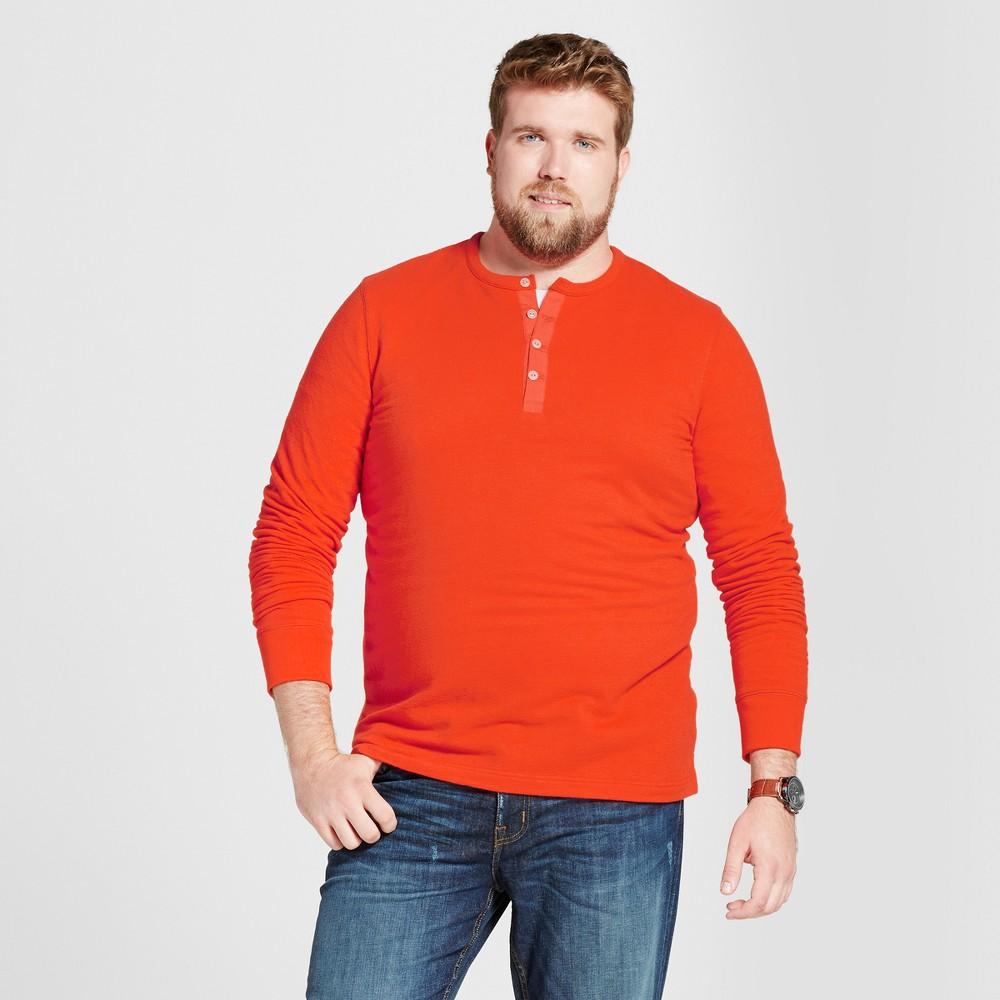 Mens Big & Tall Standard Fit Long Sleeve Micro-Waffle Henley Shirt - Goodfellow & Co Orange 4XBT