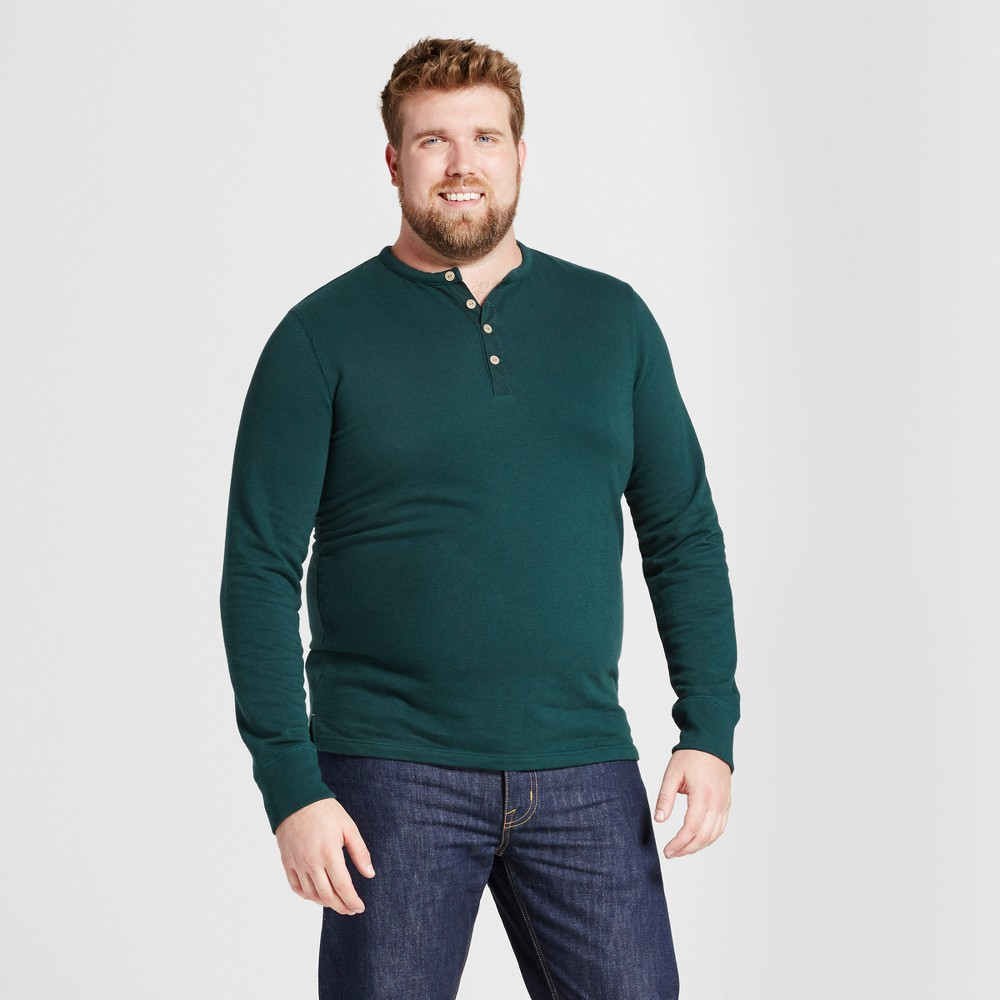 Mens Big & Tall Standard Fit Long Sleeve Micro-Waffle Henley Shirt - Goodfellow & Co Green 2XB