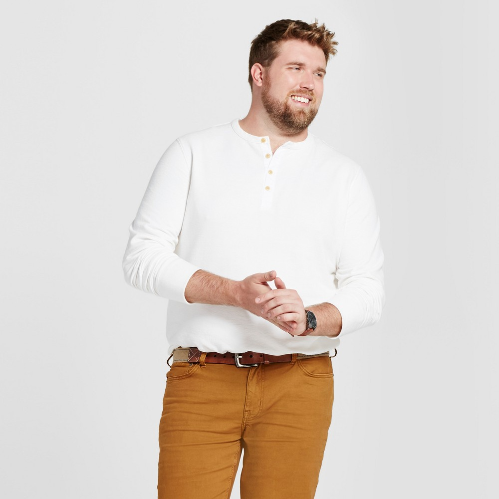 Mens Big & Tall Standard Fit Long Sleeve Micro-Waffle Henley Shirt - Goodfellow & Co White 3XBT