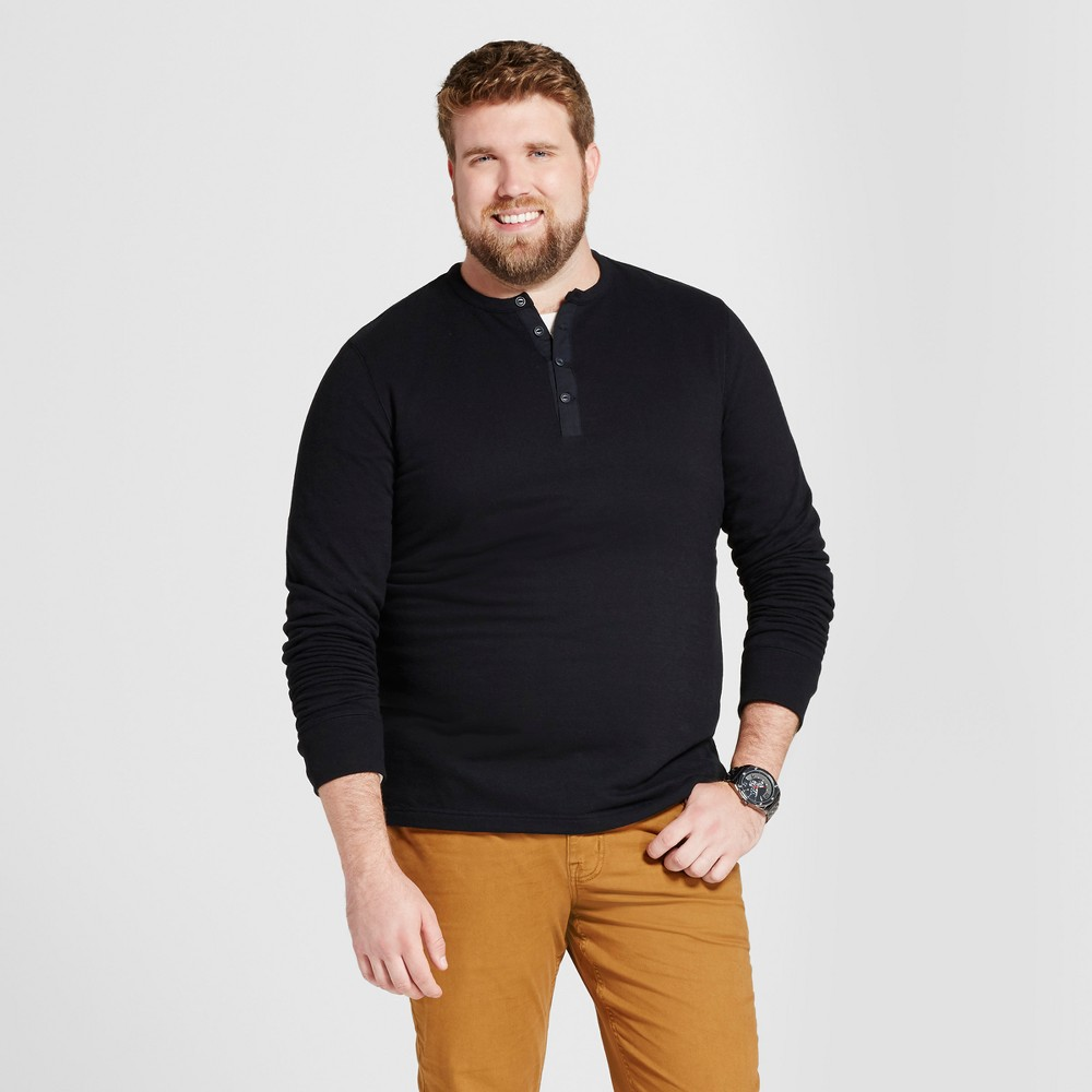 Mens Big & Tall Standard Fit Long Sleeve Micro-Waffle Henley Shirt - Goodfellow & Co Black MT