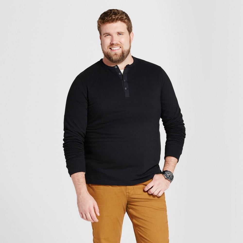 Mens Big & Tall Standard Fit Long Sleeve Micro-Waffle Henley Shirt - Goodfellow & Co Black Xlt