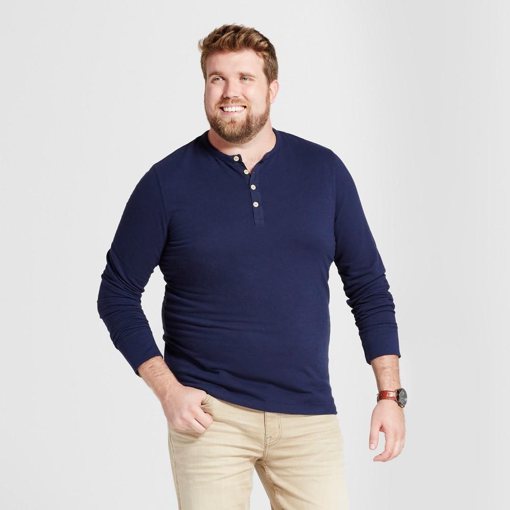 Men's Big & Tall Standard Fit Long Sleeve Micro-Waffle Henley Shirt - Goodfellow & Co Navy (Blue) LT