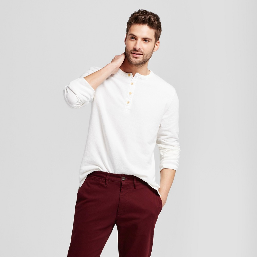 Mens Standard Fit Long Sleeve Micro-Waffle Henley Shirt - Goodfellow & Co White M