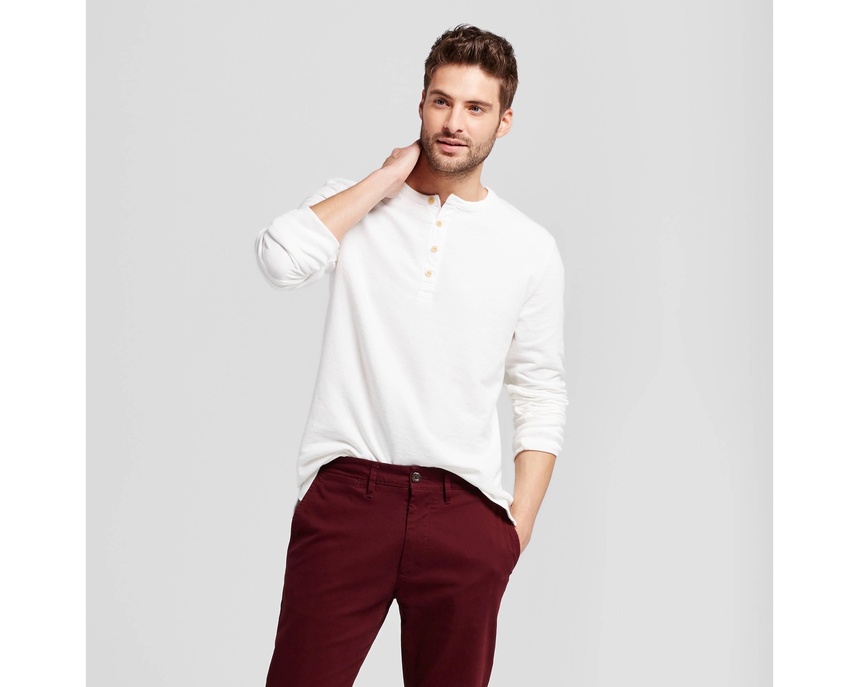 White Thermal Henley Shirt