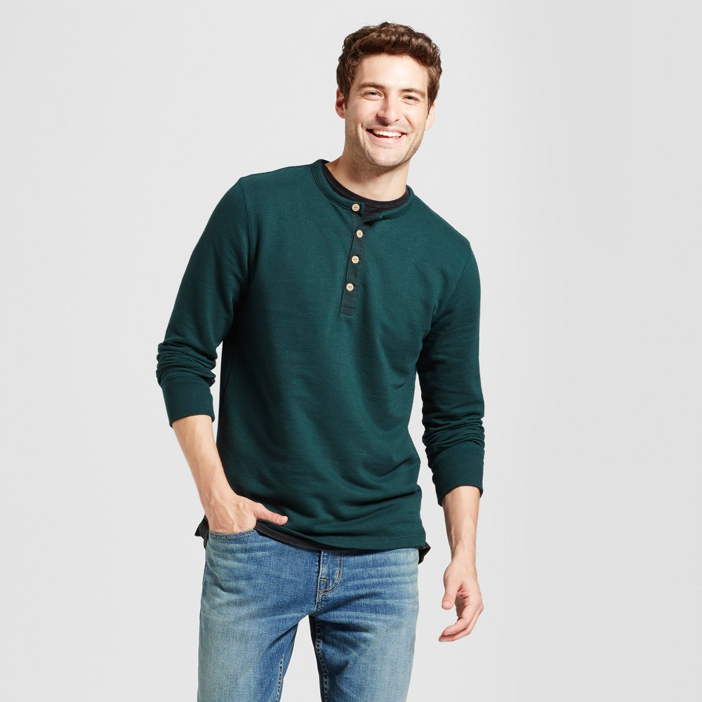 Mens Long Sleeve Micro-Waffle Henley Shirt - Goodfellow & Co Dark Green Xxl