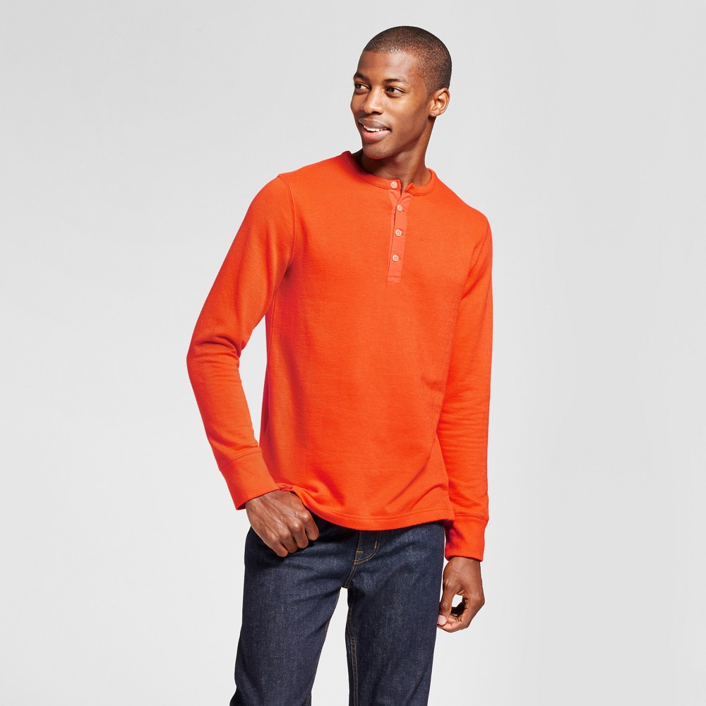Mens Standard Fit Long Sleeve Micro-Waffle Henley Shirt - Goodfellow & Co Orange L