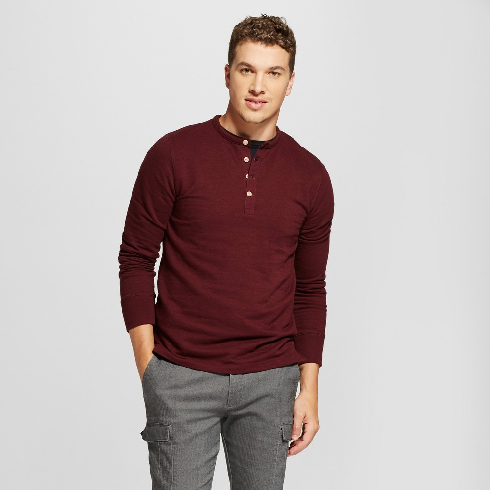 Mens Standard Fit Long Sleeve Micro-Waffle Henley Shirt - Goodfellow & Co Red M