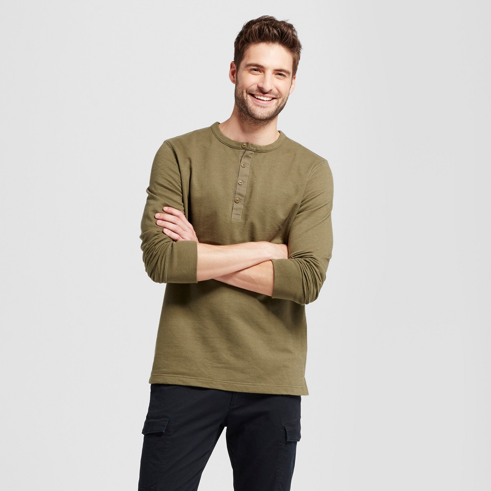 Mens Long Sleeve Micro-Waffle Henley Shirt - Goodfellow & Co Green L