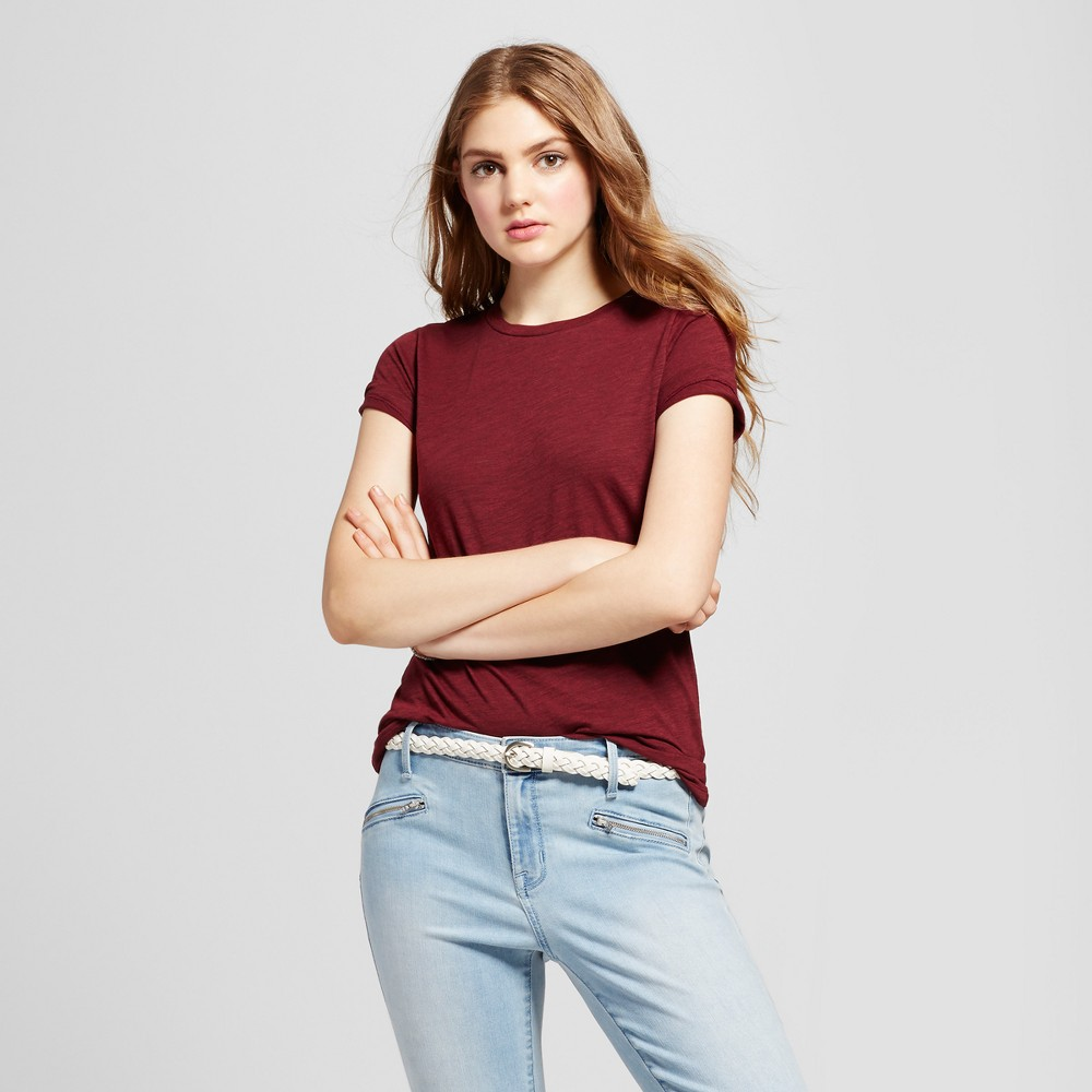 Womens Essential Short Sleeve Crew T-Shirt - Mossimo Supply Co. Burgundy (Red) Xxl