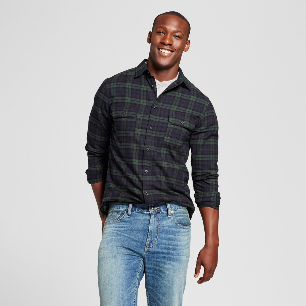 Mens Standard Fit Twill Plaid Flannel Shirt - Goodfellow & Co Dark Green L