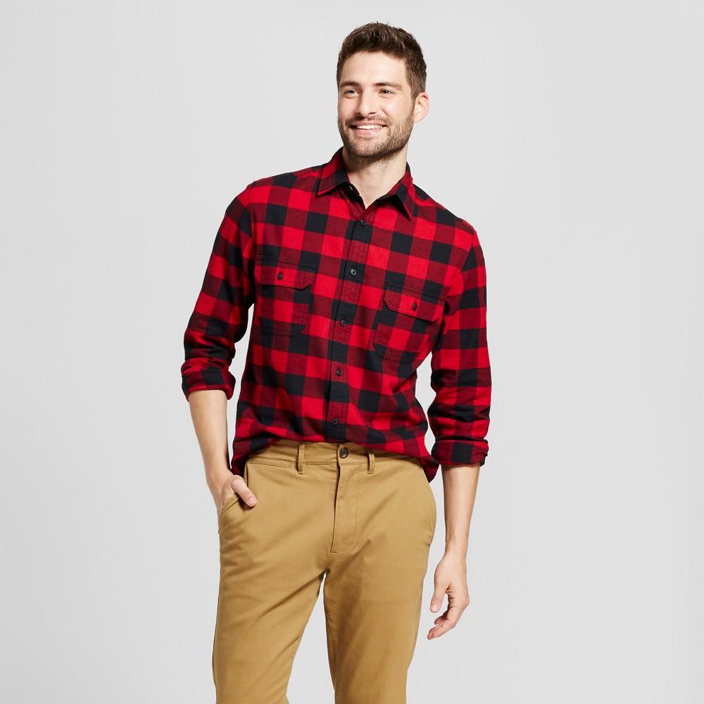Mens Standard Fit Twill Plaid Flannel Shirt - Goodfellow & Co Red L