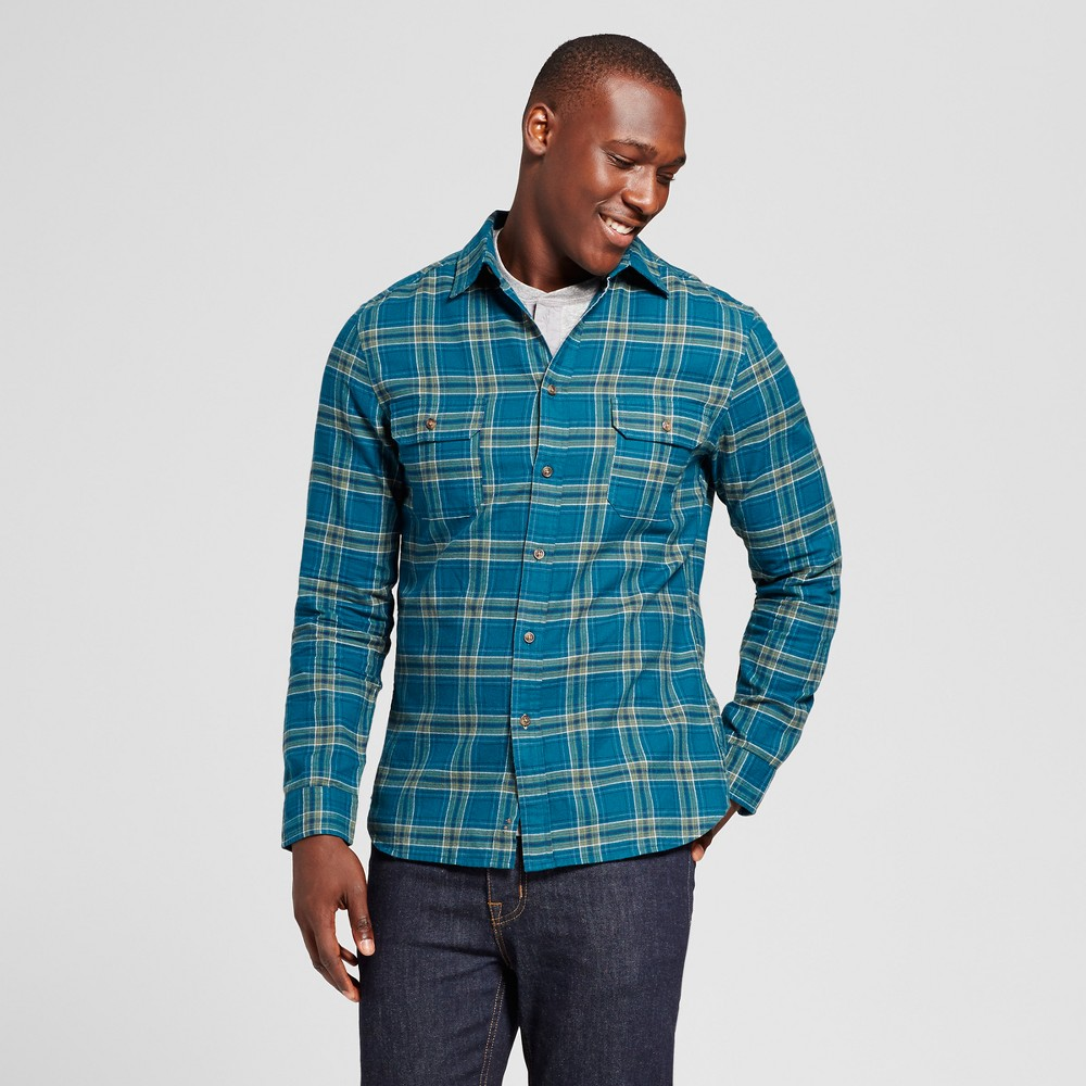 Mens Standard Fit Twill Plaid Flannel Shirt - Goodfellow & Co Green Xxl