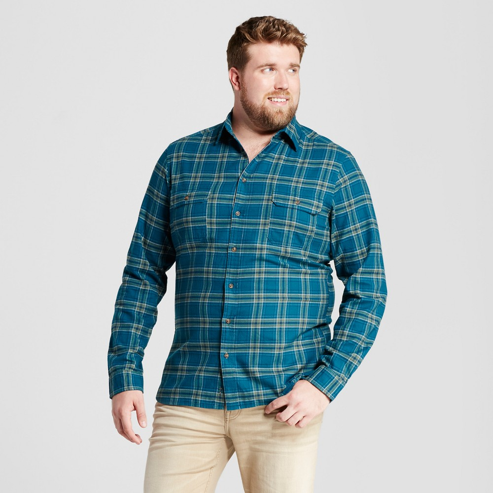 Mens Big & Tall Standard Fit Plaid Flannel Shirt - Goodfellow & Co Green MT
