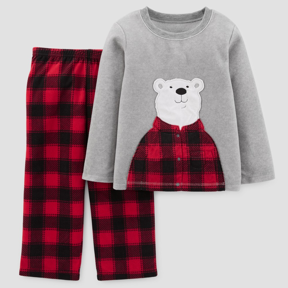 Toddler Boys 2pc Long Sleeve Bear Buffalo Check Pajama Set - Just One You Made by Carters Dark Red 2T