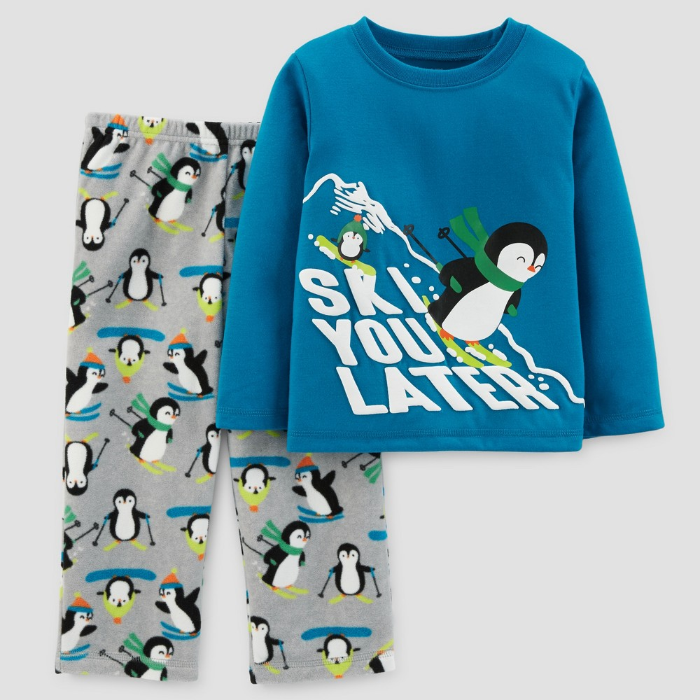 Toddler Boys 2pc Long Sleeve Ski You Later Penguins Pajama Set - Just One You Made by Carters Blue 3T