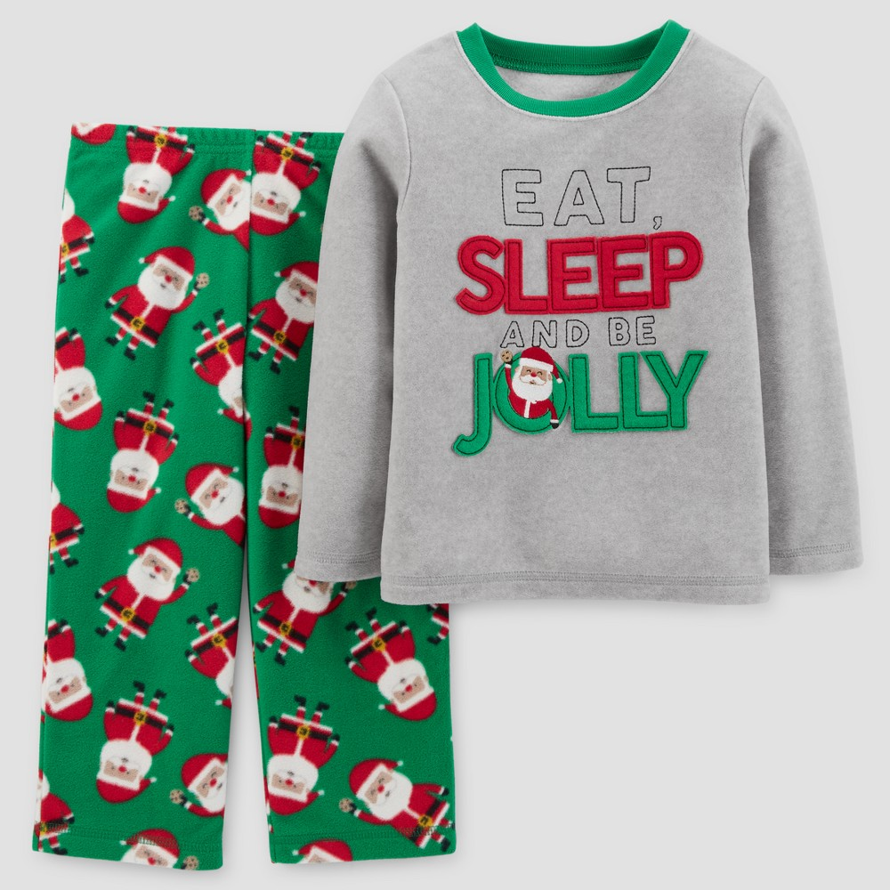 Toddler Boys' 2pc Long Sleeve Here Comes Santa Claus Pajama Set - Just One You Made by Carter's Gray 2T