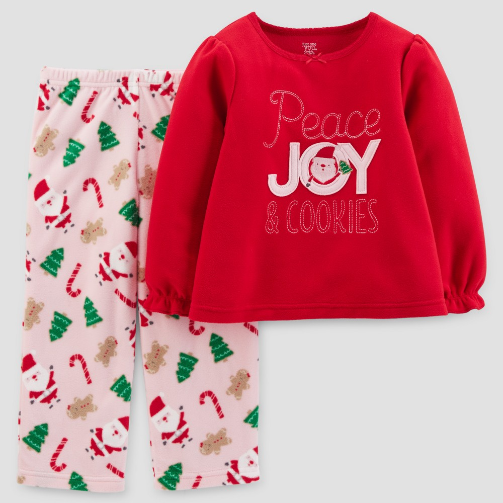 Toddler Girls 2pc Long Sleeve Peace, Joy & Cookies Pajama Set - Just One You Made by Carters Red 5T