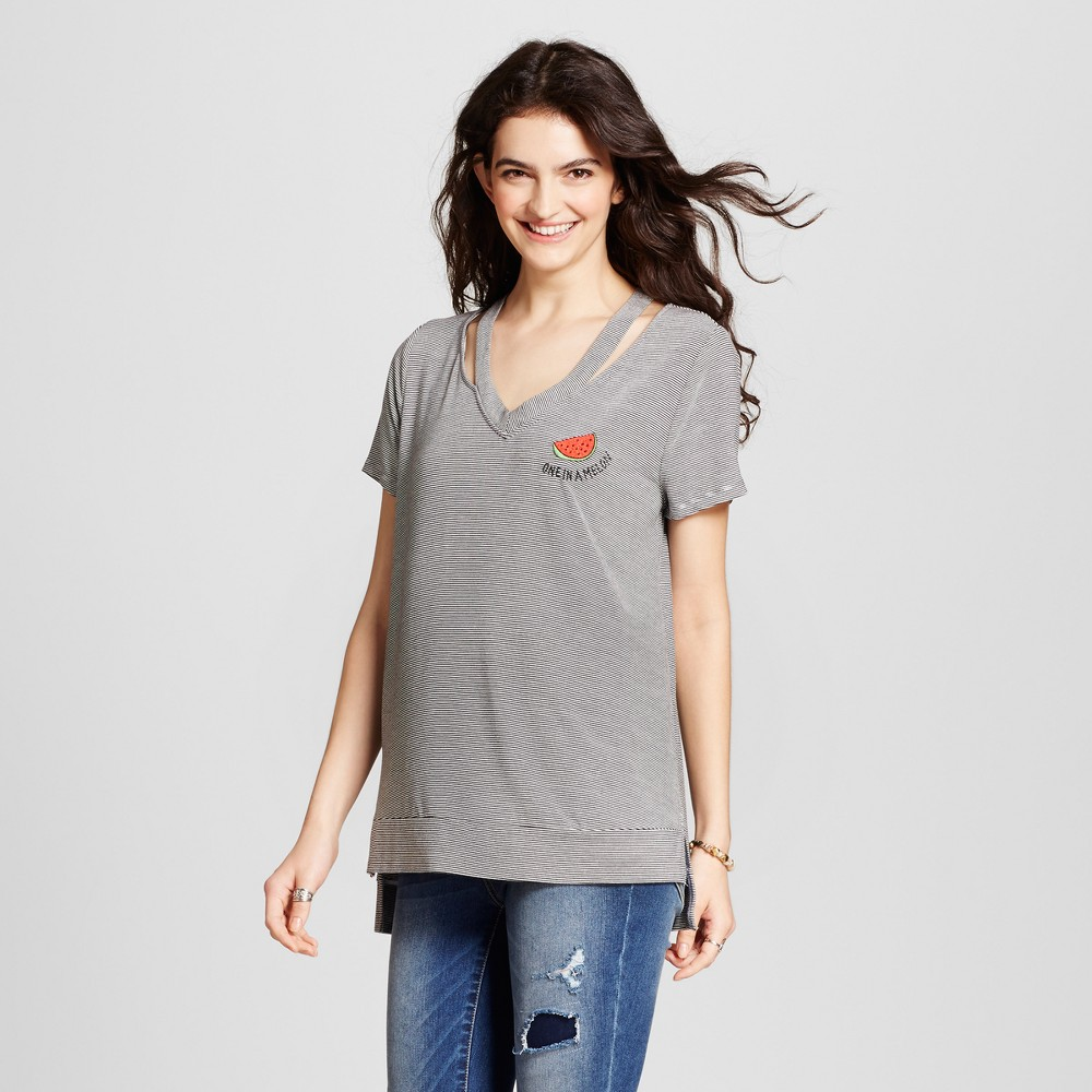 Womens Striped Cut Out One in a Melon Embroidered T-Shirt - Miss Chievous (Juniors) Black/White M