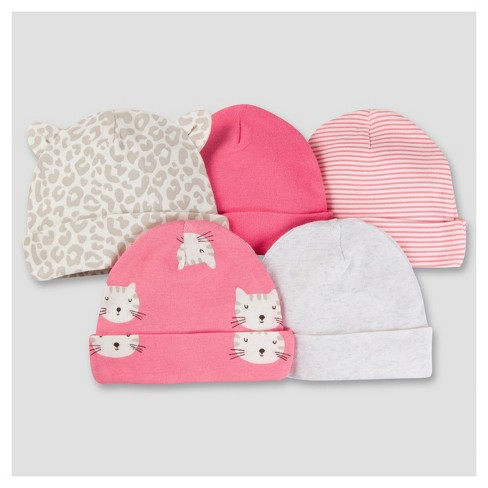 Baby Girls' 5pk Cap Set - Kitty 0-6M - Gerber® - image 1 of 18