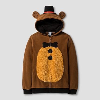 Boys' Five Nights At Freddy's Bear Hooded Fleece Sweatshirt Brown M