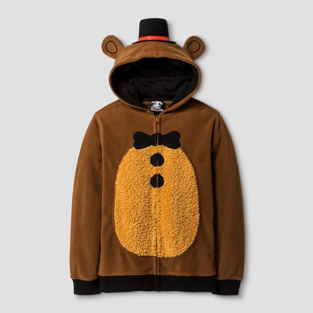 Boys Five Nights at Freddys Bear Hooded Fleece Sweatshirt Brown M