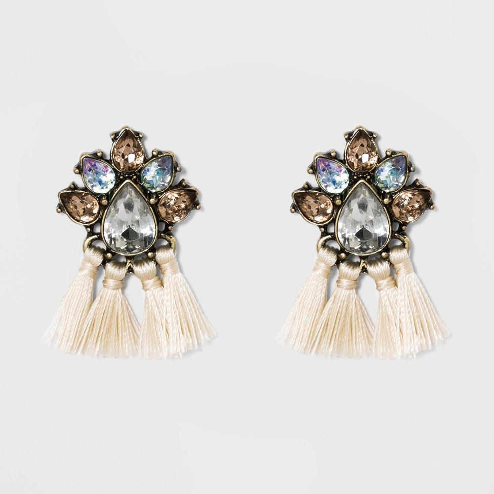 Sugarfix by BaubleBar Crystal Tassel Drop Earrings - White, Womens
