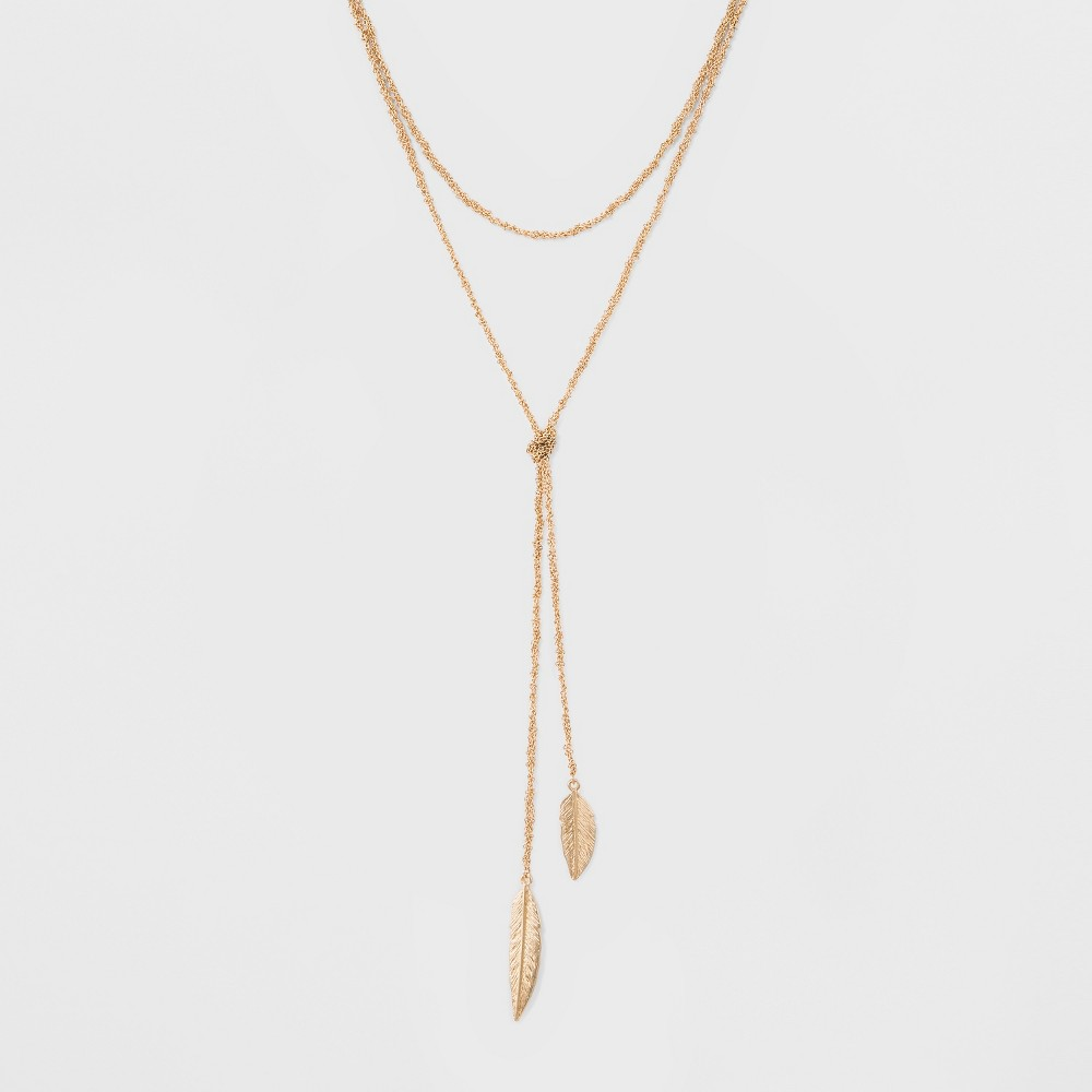 Sugarfix by BaubleBar Lariat Necklace with Leaf Detail - Gold, Womens