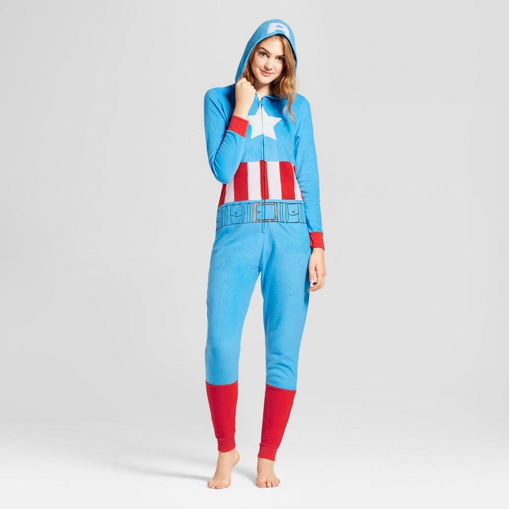 Womens Captain America Union Suit - Blue S/M, Size: S-M
