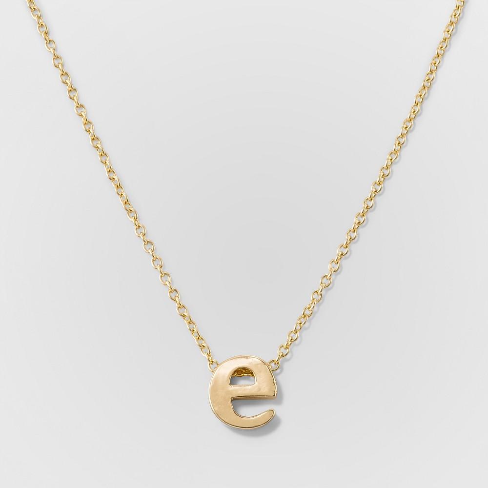 Womens Delicate Initial E Pendant - Gold, Size: Small, Letter E Gold