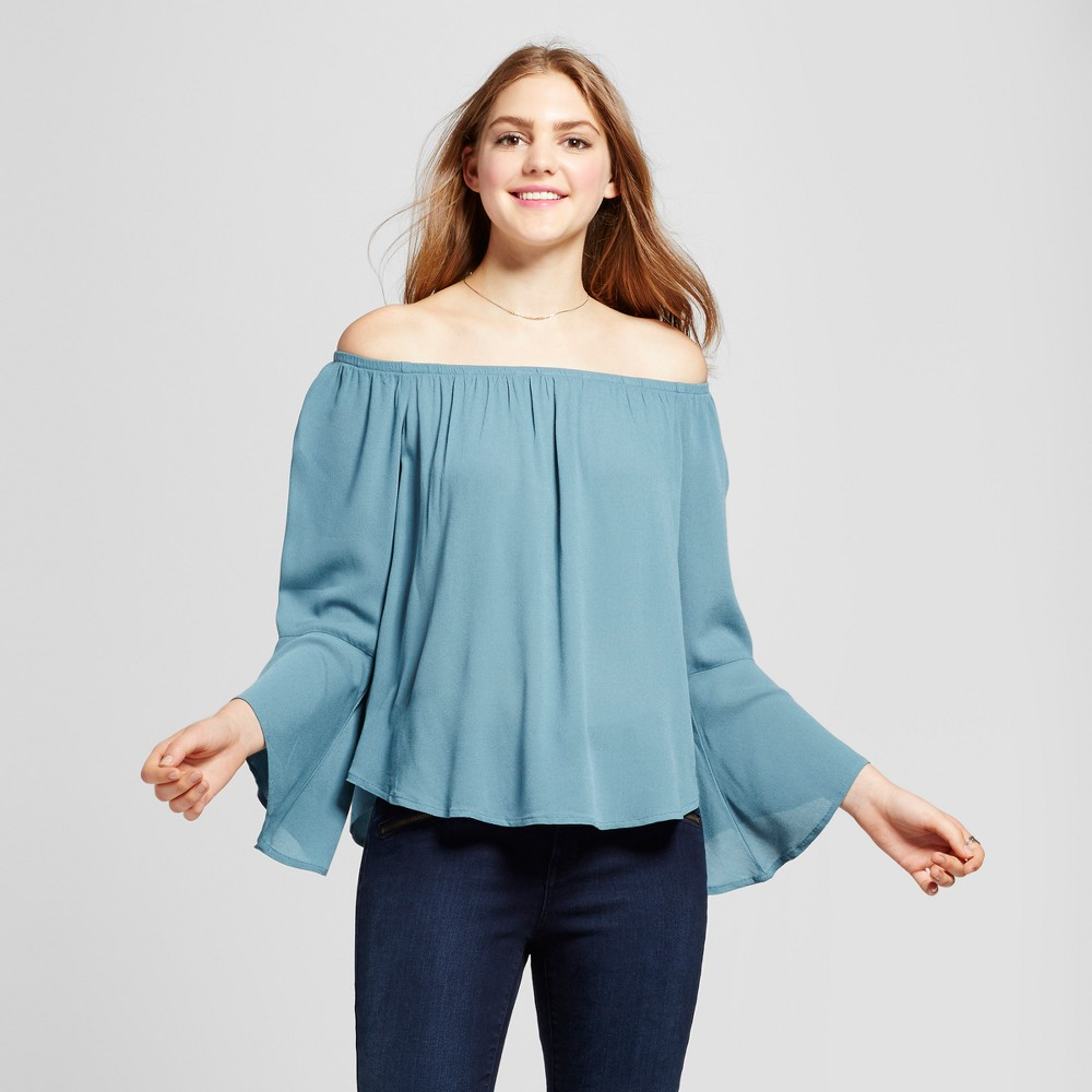 Womens Off the Shoulder Bell Sleeve Top - Mossimo Supply Co. Blue M