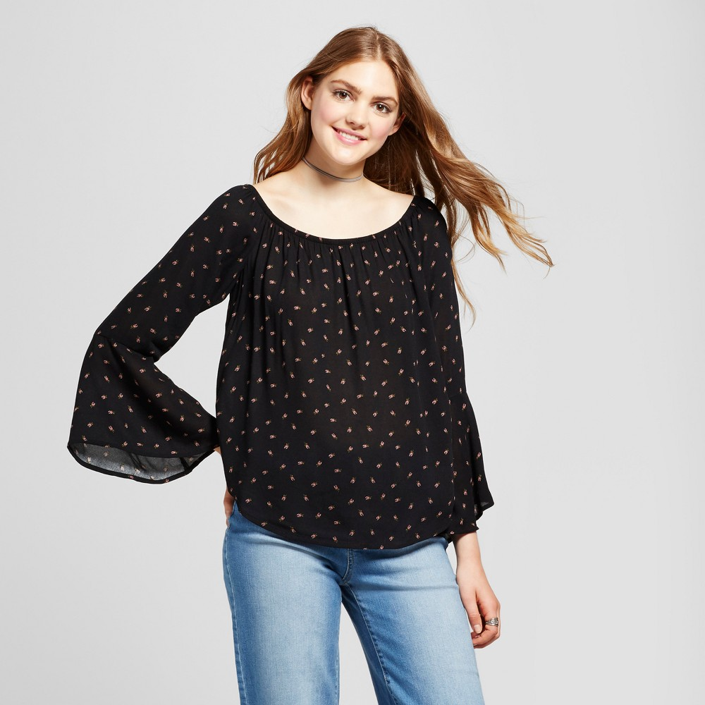 Womens Off the Shoulder Bell Sleeve Top - Mossimo Supply Co. Black L